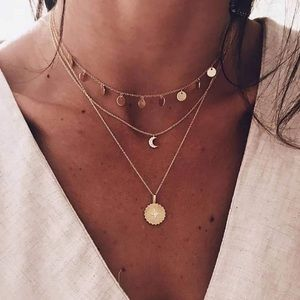 Multi Layered Dainty Coin Necklace